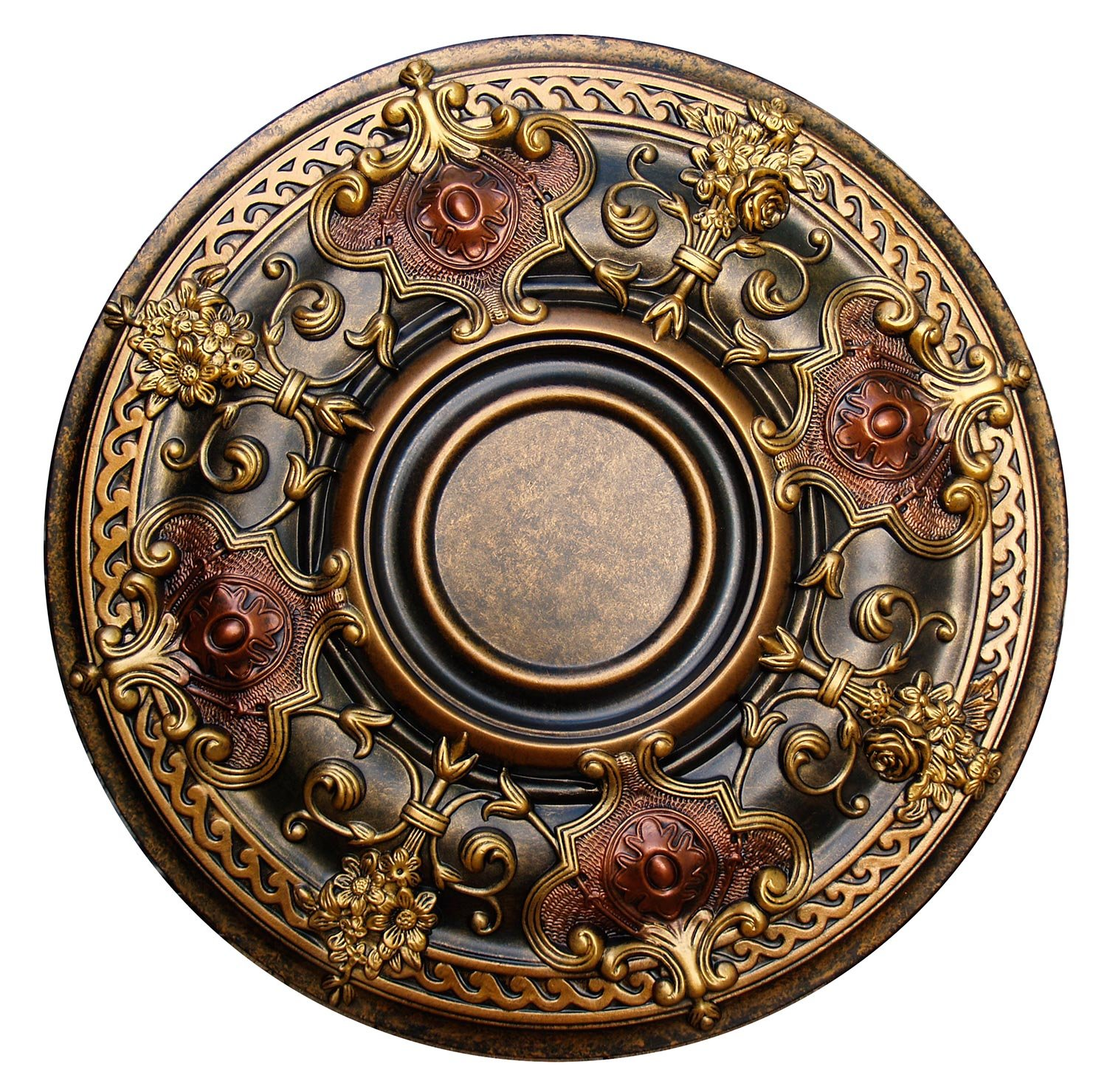 Fine Art Deco ''Shady Impression'' Hand Painted Ceiling Medallion 28-1/8 In. Finished in Bronze, Gold and Copper