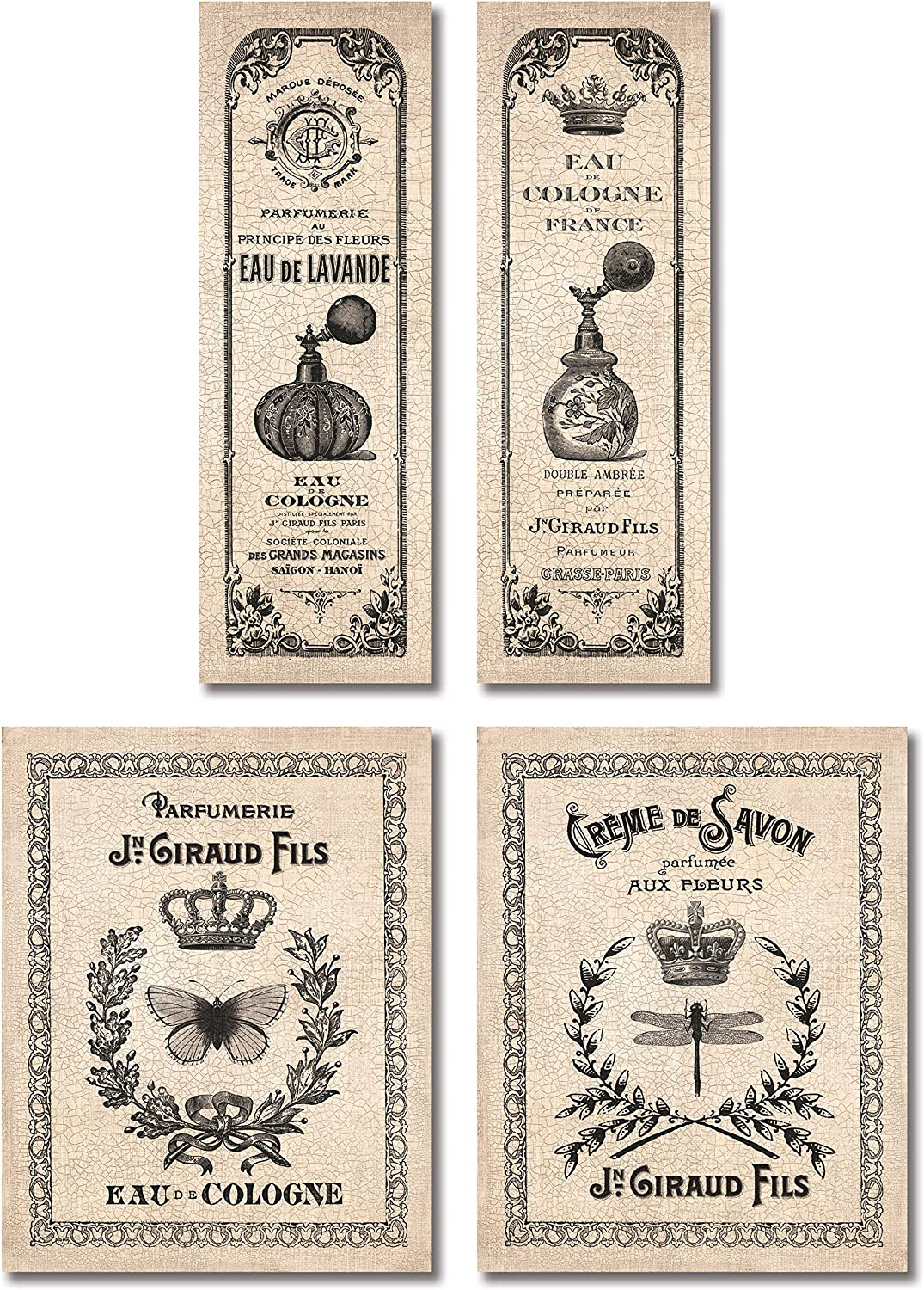Classic French Inspired Hotel Bath Panels & Signs...cologne & Savon; Set of Four; Two 11x14's & Two 6x18 Prints
