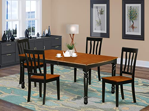 DOAN5-BCH-W 5 PC kitchen tables and chair set with one Dover dining table and 4 kitchen chairs in a Black and Cherry Finish