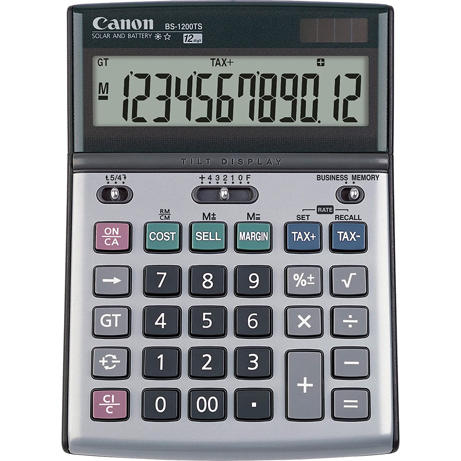 Canon BS1200TS 12-Digit Desktop Calculator, Tilt Adj. LCD, Dual pwr, Beige 28150350-MDS