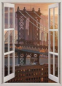Fabulous Décor - Brooklyn Bridge 3D Window View Wall Art Premium Vinyl Decal Sticker 24