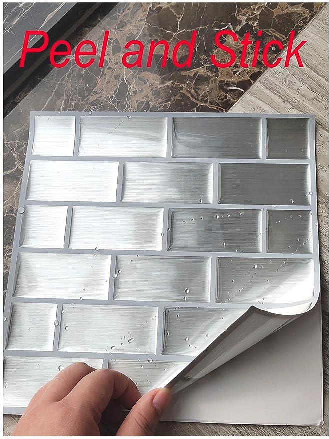 8.6x8.6 Subway Silver Besttile 10-Sheets Peel and Stick Tile for Kitchen Backsplash