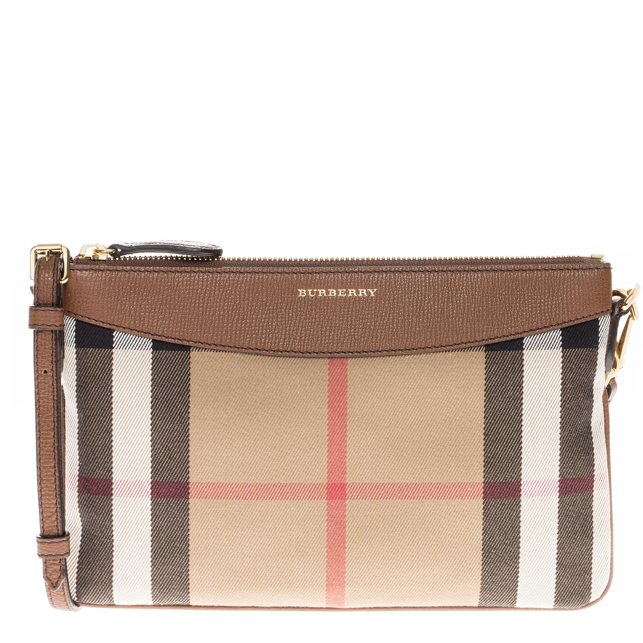 Burberry Women's House Check and Leather Clutch Bag Beige + Brown