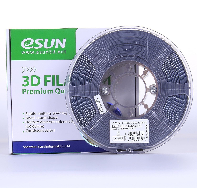 PETG 3D Printer Filament 2.2lb eSUN 3D 3mm PETG Solid Gray Filament 1kg Actual Diameter 2.85mm +//- 0.05mm Solid Opaque Gray IG-C-PETG300SH1