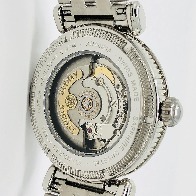 Armand 9420A-AG-M9430 Nicolet Arc Royale - Reloj automático (acero inoxidable, fabricado en Suiza), color plateado: Amazon.es: Relojes