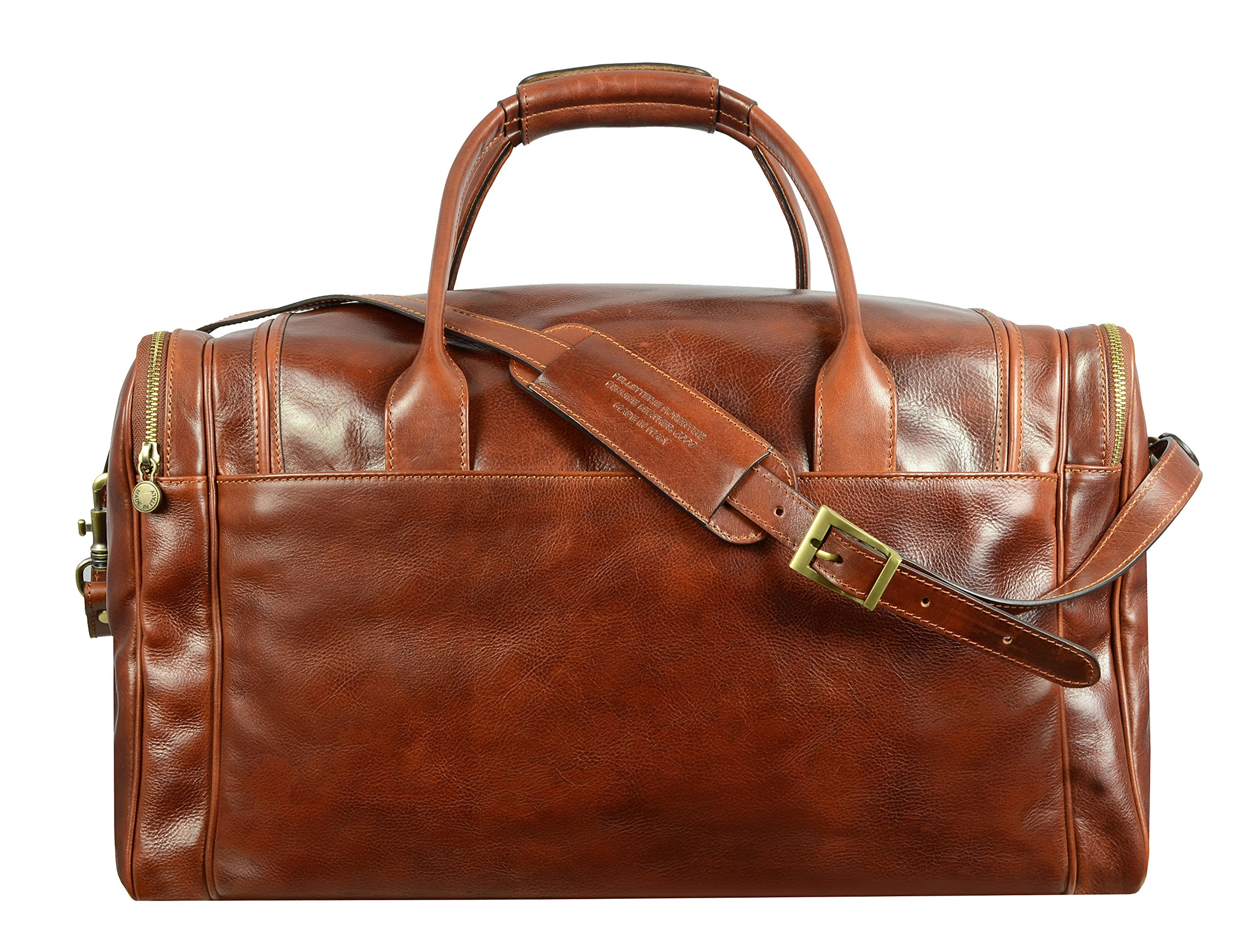 Leather Duffel Bag, Weekend Bag, Gym, Large Travel Bag, Cognac, Brown - Time Resistance by Time Resistance (Image #2)