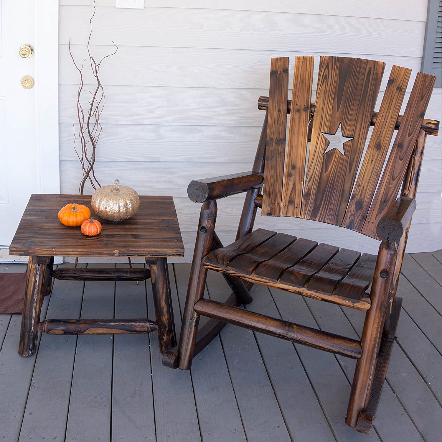 amazon com char log single rocker with star patio rocking chairs