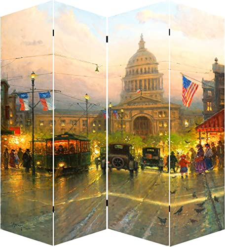 Ore International 71 Capitol Hill Street Scene Canvas Room Divider, Unknown