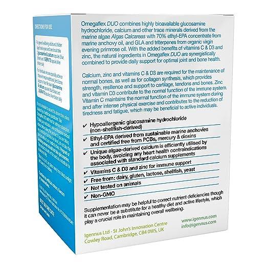 Omegaflex DUO Clorhidrato de glucosamina, aceite de pescado omega-3 de calcio y gran potencia y aceite de onagra orgánico para articulaciones y huesos, ...