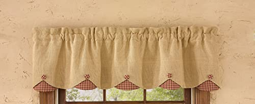 Park Designs Burlap Checked Lined Scalloped Valance, 58 x 15 , Red