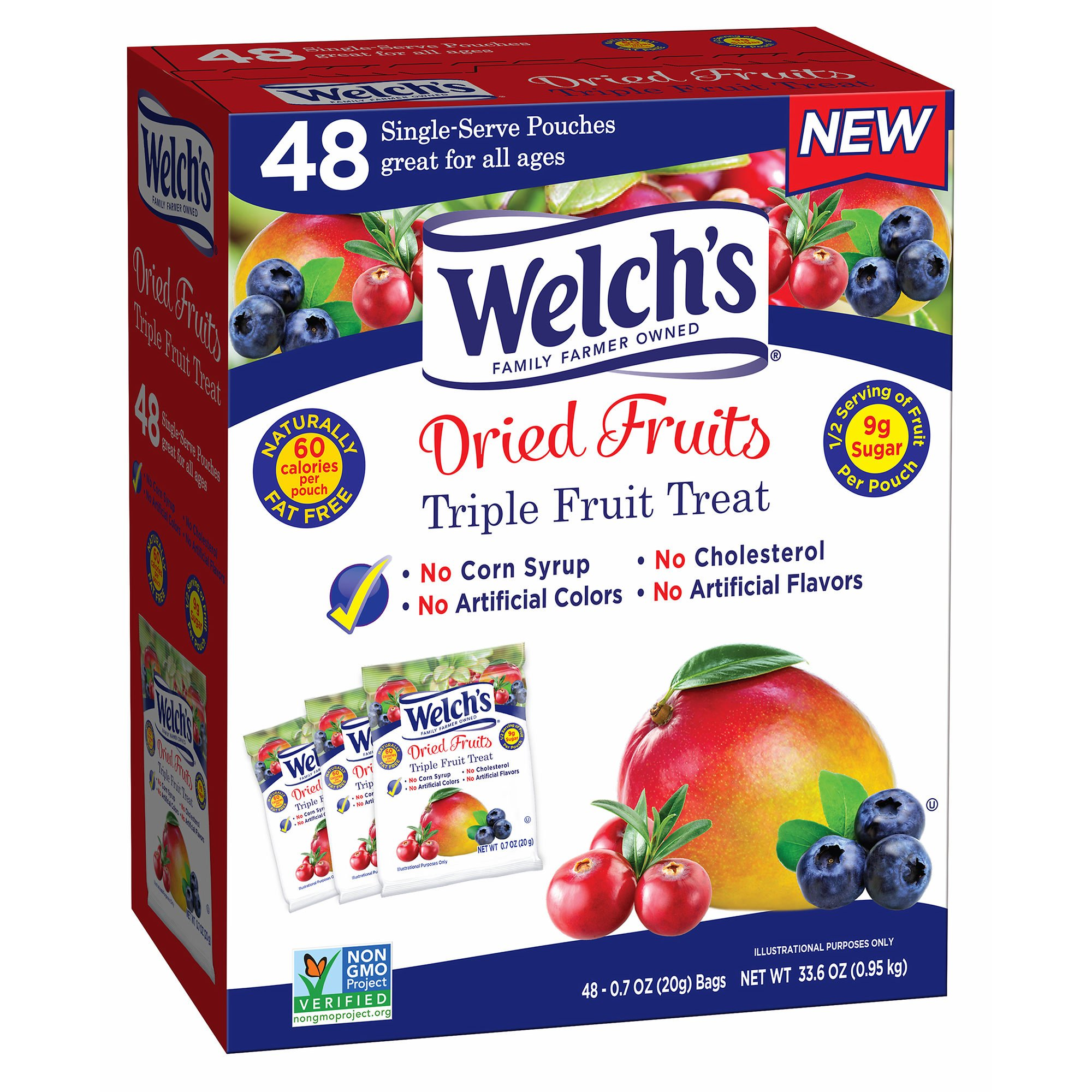 Welch's Dried Fruit Triple Fruit Treat Pouches, 48 ct. (pack of 6)