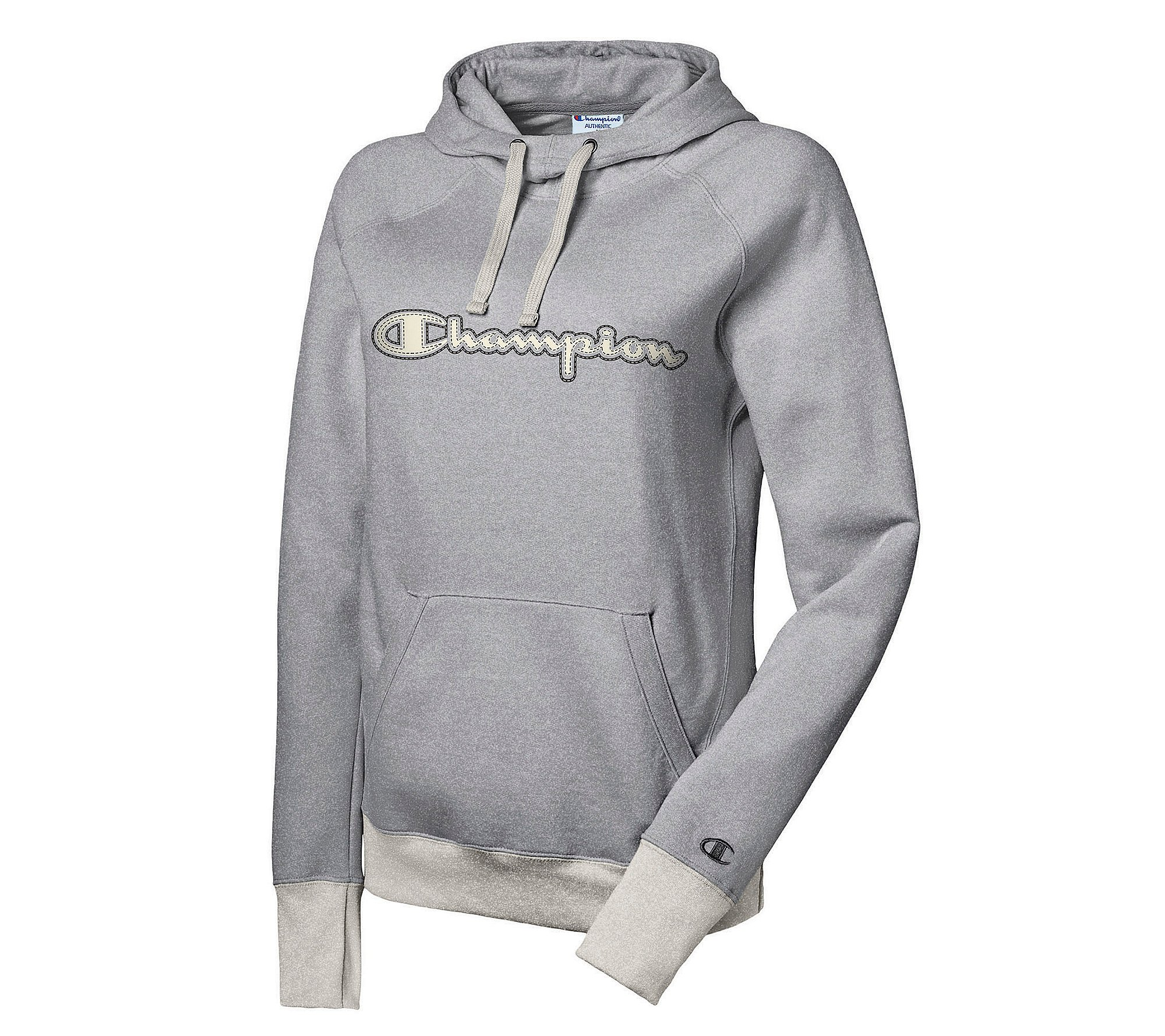Champion Logo Fleece Pullover Hoodie Oxford Grey X-Large