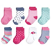 Touched by Nature Baby Organic Cotton Socks, Garden Floral 8Pk 6-12 Months