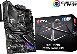 MSI MPG Z490 Gaming Edge WiFi ATX Gaming Motherboard (10th Gen Intel Core, LGA 1200 Socket, DDR4, CF, Dual M.2 Slots, USB 3.2 Gen 2, Wi-Fi 6, DP/HDMI, Mystic Light RGB)
