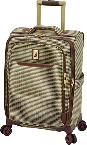 London Fog Cambridge II 20 Expandable Spinner, Olive Houndstooth