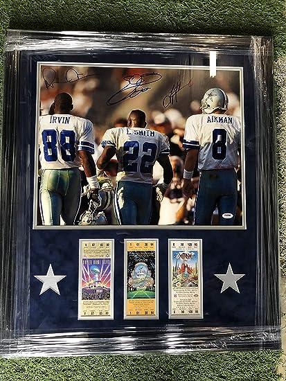 """b6e12c62da8 Dallas Cowboys Signed""""The Triplets"""" Troy Aikman #8, Emmitt Smith # 22"""
