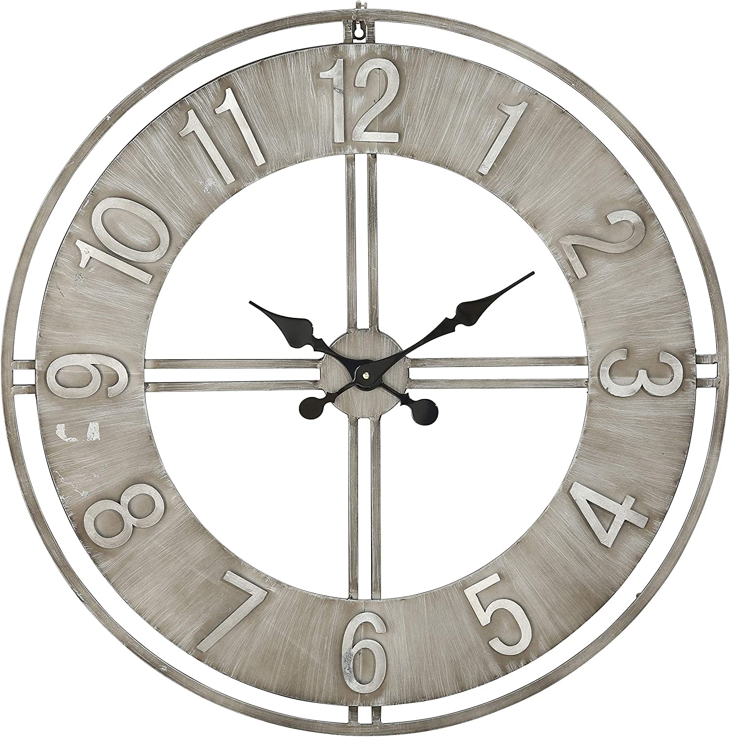 Whole House Worlds Industrial Chic Analog Clock, Distressed Finish, Metal, Quartz Movement, Over 2.5 Feet Diameter (30.75 Inches) 1 AA Battery (Not Included) Loft Living Collection