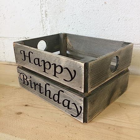 Feliz cumpleaños caja de regalo rústico de madera Estuche de ...