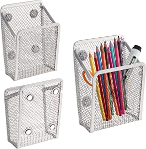 Magnetic Storage Basket | Wire mesh Pencil Holder | Magnetic Holding Basket with 4 Strong Magnets| Desktop File Organizer | Wire mesh Basket | Work Magnetic Storage Basket (Silver, 3 Pack)