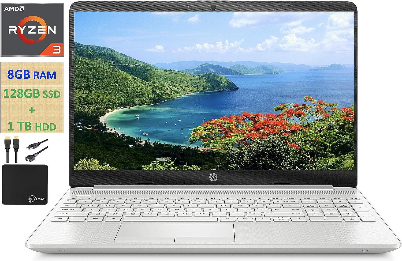 "2021 HP Flagship 15.6"" HD Laptop Computer, AMD Ryzen 3 3250U up to 3.5GHz (Beat Intel i5-7200U), 8GB RAM, 128GB SSD+1TB HDD, HD Webcam, Remote Work,WiFi, Bluetooth 4.2, HDMI, Win10 S, w/Marxsol Cables"