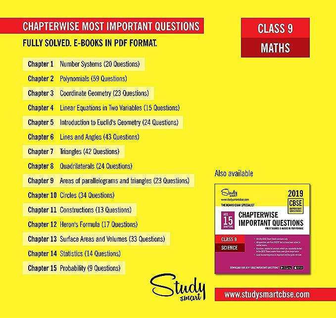 STUDY SMART CBSE CLASS 9 Maths Chapterwise Important