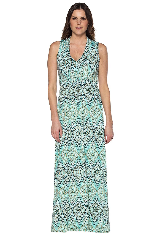Neesha V Neck Printed Maxi Dress with Gathered Bodice at Amazon Women s  Clothing store  23533e5da