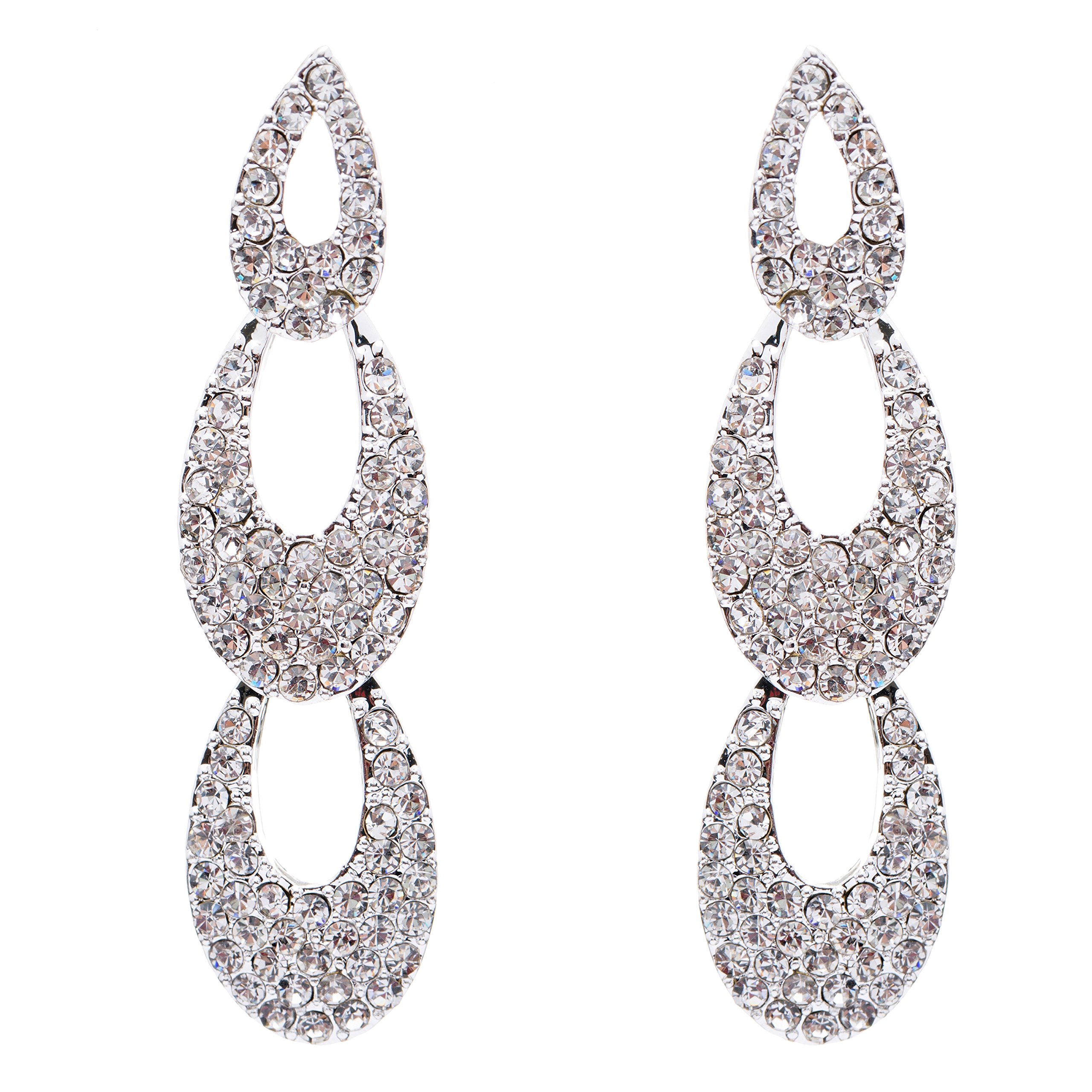 Bridal Wedding Jewelry Crystal Rhinestone Beautiful Cascade Dangle Drop Earrings