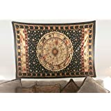 Indian-hippie-black Bohemian-psychedelic-astrology Zodiac-mandala Wall-hanging-tapestry-golden Twin-size