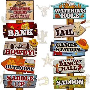 20 Pieces Western Party Directional Sign Western Cowboy Theme Wild West Party Large Yard Sign Cowboy and Cowgirl Party Decor Welcome Yard Outdoor Wall Sign Party Supplies Photo Props Backdrop Decor