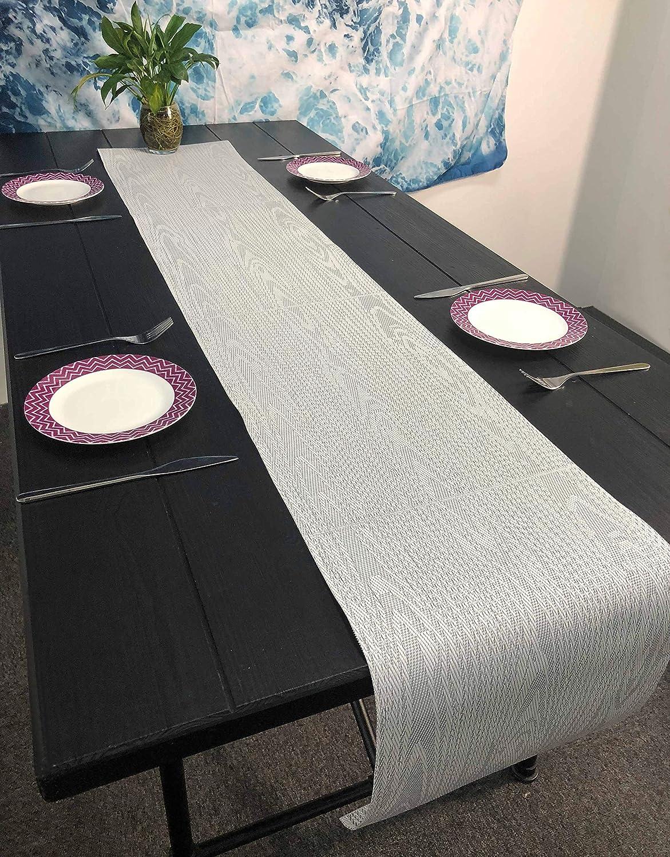 OSVINO Tapis de Table Cuisine D/écoration Vinyle PVC Tress/é Rayure Veinture Durable Chemin Isolation Thermique Tasse Vaisselle Antid/érapant Salle /à Manger H/ôtel Restaurant,Gris 180x30cm