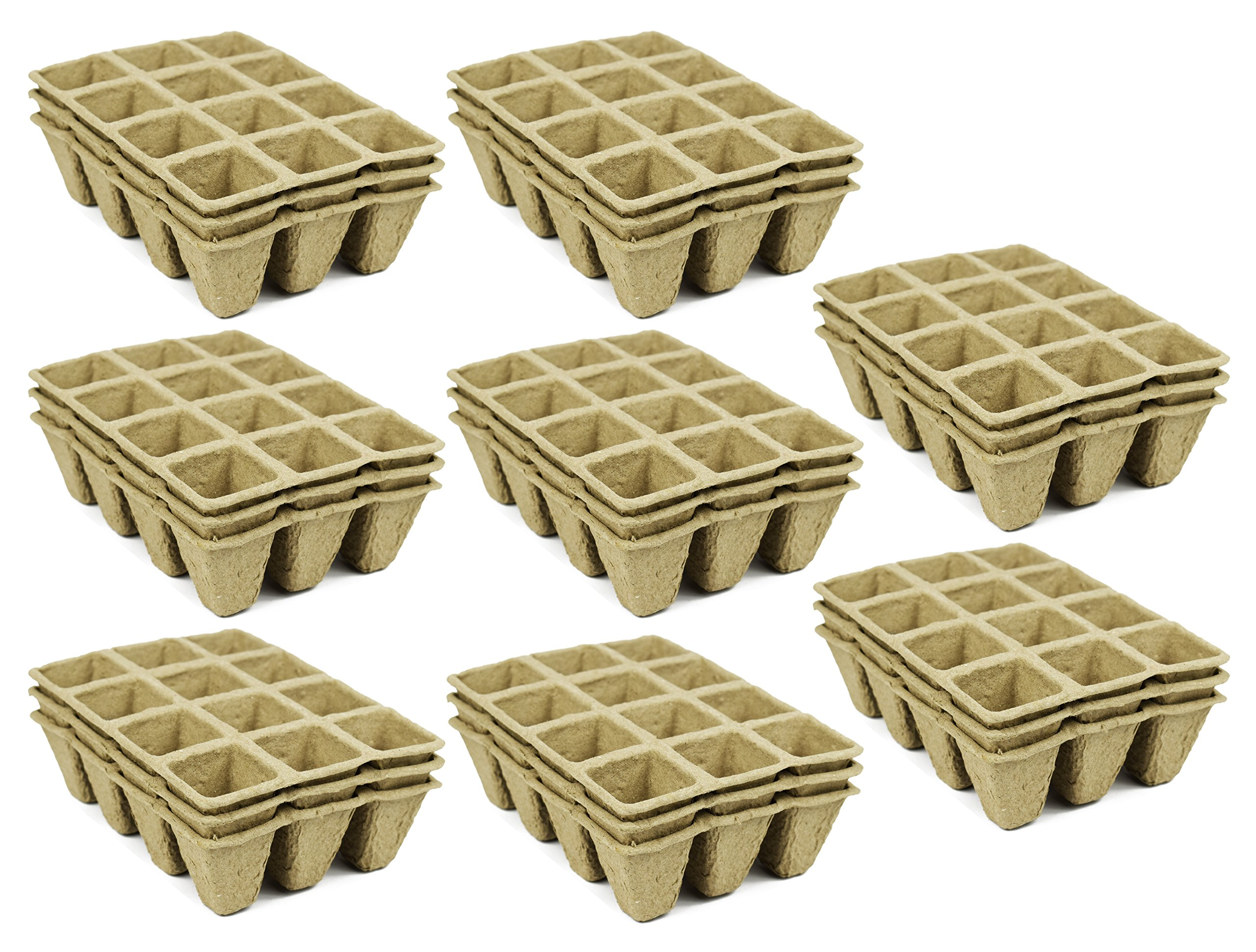 Set of 24 Biodegradable Eco Friendly Peat Tray! 3'', 2'', 12 Pot Tray - Recycled Non Bleached Peat Pots Perfect for Seed Germination! No Transplanting Required - No More Damaged Roots!