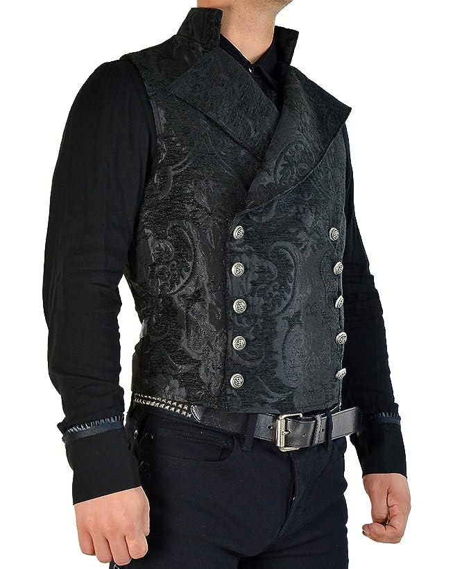 Steampunk Clothing- Men's Shrine Mens Black Victorian Gothic Tapestry Cavalier Jacket Vest $143.99 AT vintagedancer.com