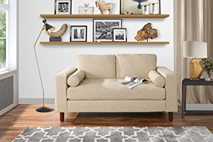 Modern Sofa Loveseat with Tufted Linen Fabric - Living Room Couch (Beige)