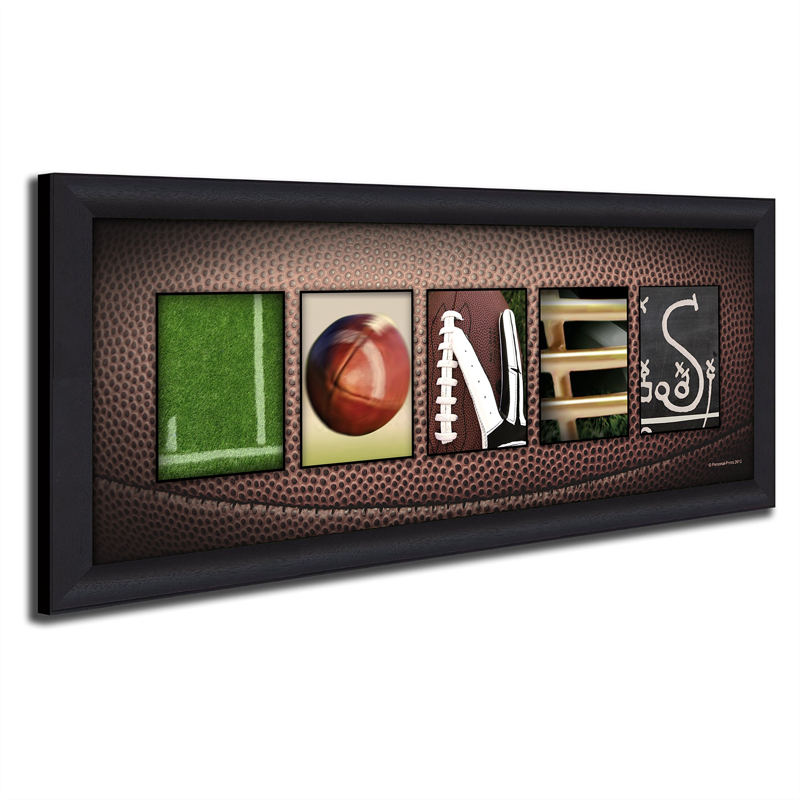 Framed Canvas - Personalized Football Name Art Decor print for man cave, boys room, or office!