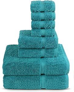 8 Piece Turkish Luxury Turkish Cotton Towel Set - Eco Friendly, 2 Bath Towels, 2 Hand Towels, 4 Wash Clothes by Turkuoise Turkish Towel (Turquoise)