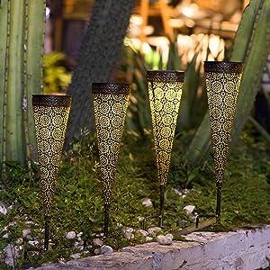 [Set of 4]TAKE ME Solar Pathway Lights Garden Outdoor,Waterproof Metal Decorative Stakes for Walkway,Yard,Lawn,Patio