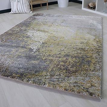 Amazon De Teppich Kurzflor Fur Wohnzimmer Modern In Gelb Beige