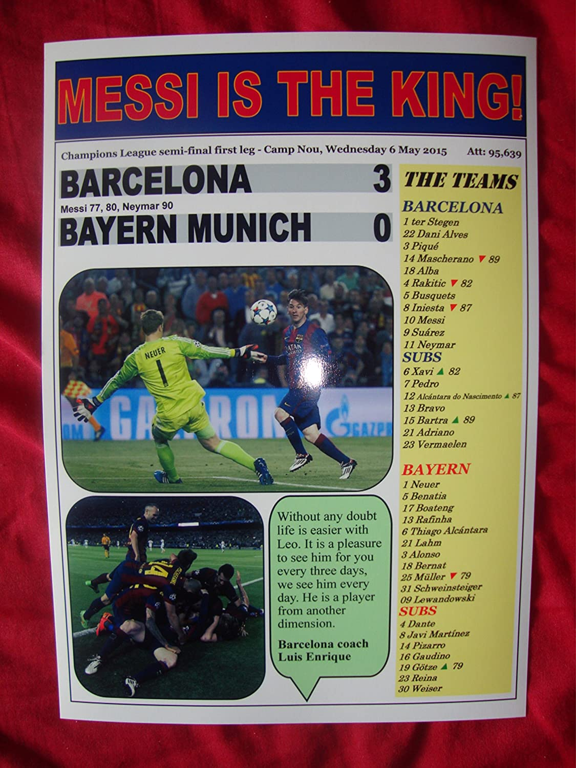Amazon.com : Barcelona 3 Bayern Munich 0 - 2015 Champions League semi-final - souvenir print : Sports & Outdoors