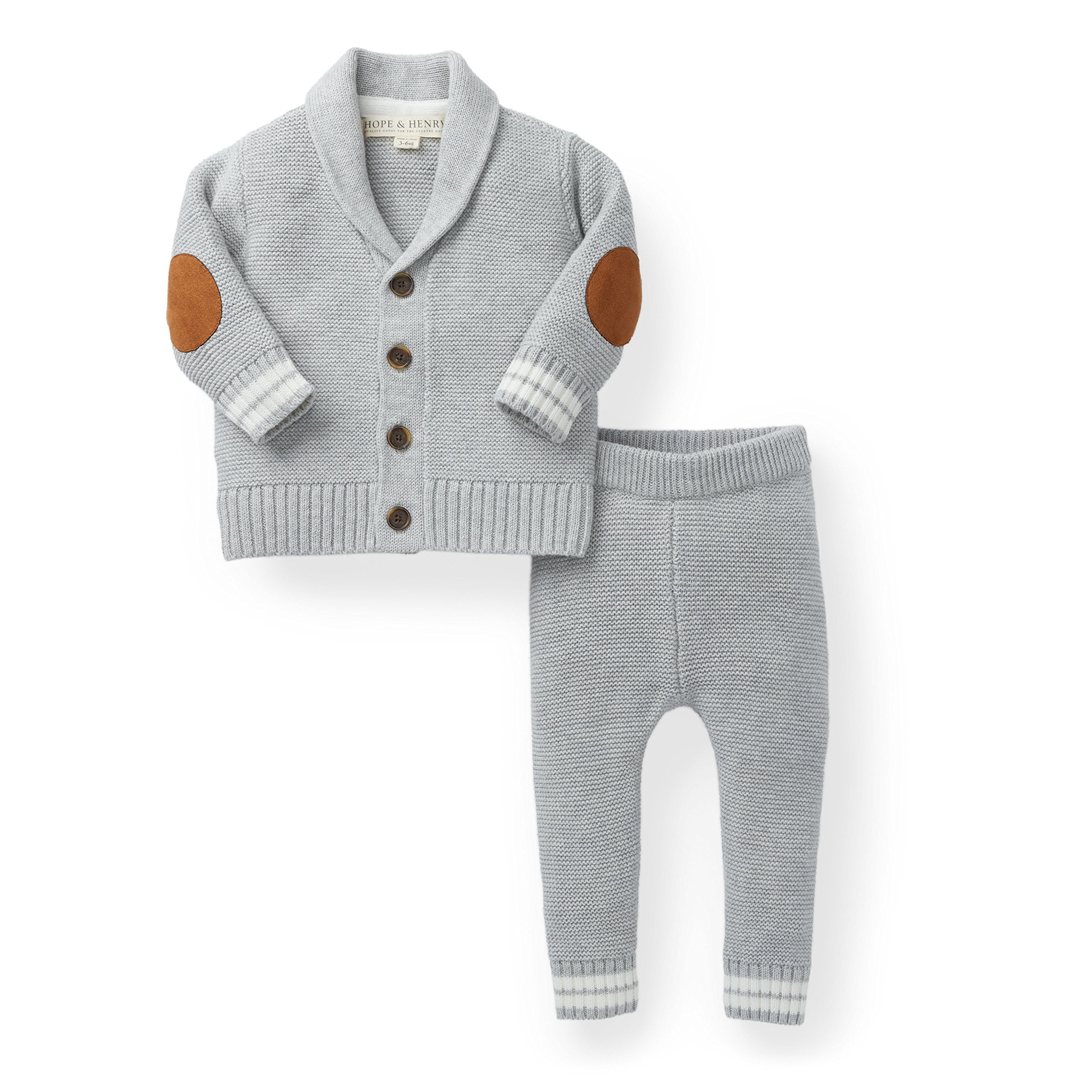 Hope & Henry Layette Boy Grey Cardigan and Sweater Leggings Set by Hope & Henry