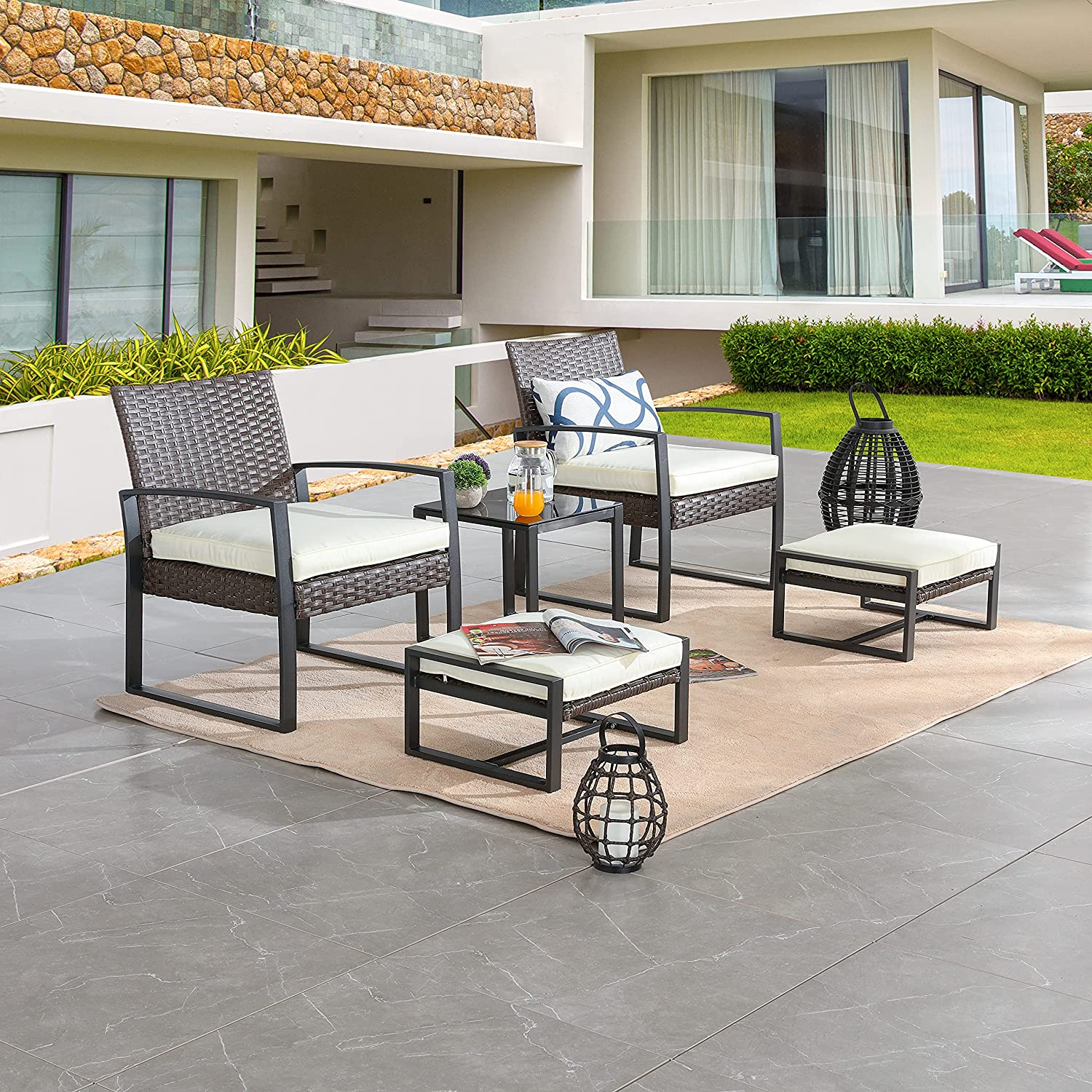 LOKATSE HOME 5-Piece Wicker Outdoor Conversation Set Patio Furniture PE Rattan All Weather Cushioned Chairs Balcony Porch with Ottoman and Glass Coffee Side Table, Beige