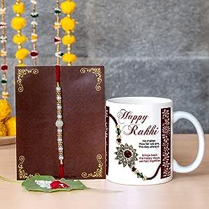 Tied Ribbons Rakhi for Brother with Gift (Designer Rakhi, Printed Coffee Mug, Rakshabandhan Special Card)