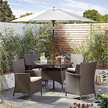 Tesco Corsica 6 Piece Garden Dining Set Table 4 Seat with Parasol - Brown A 621ad6fd019