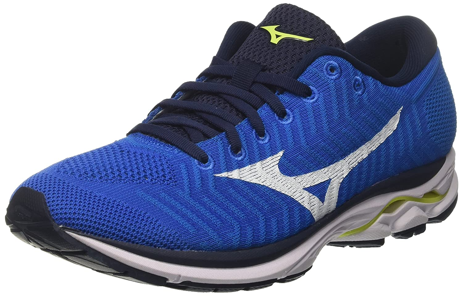 Mizuno Waveknit R1, Zapatillas de Running para Hombre 45 EU|Azul (Brilliantblue/White/Safetyyellow 01)