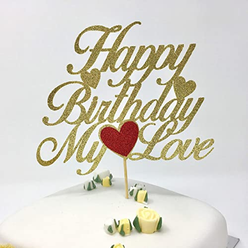 Happy Birthday My Love Cake Topper Husband Wife With Heart Customized Romantic Amazoncouk Handmade