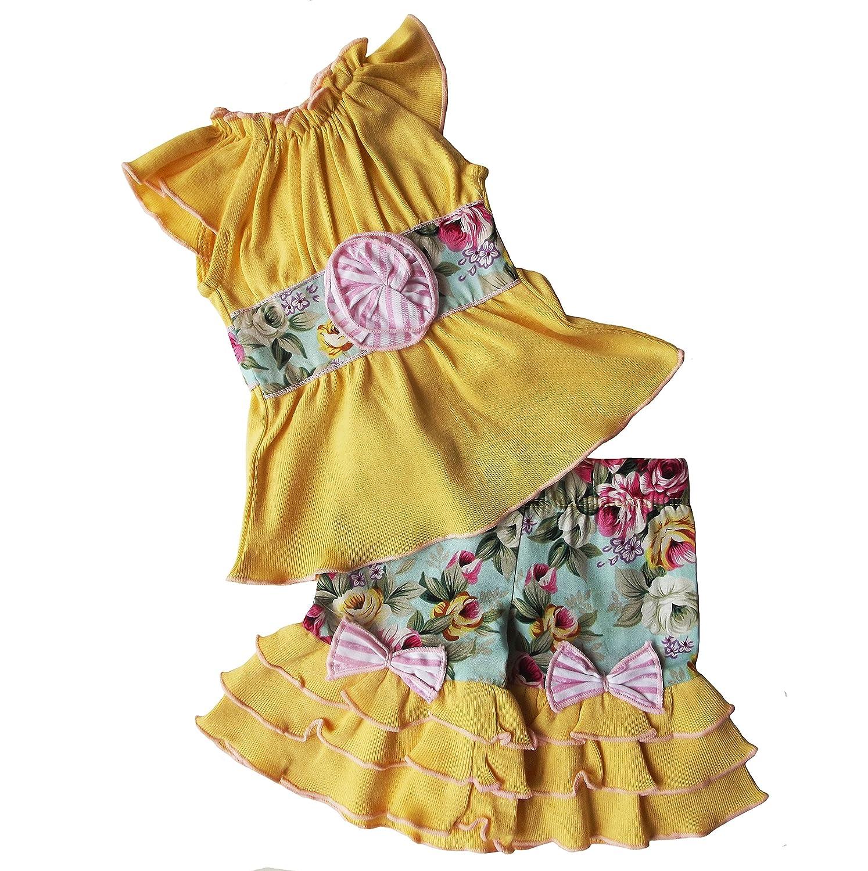AnnLoren Yellow Floral Two Piece Clothing Set fits 18 inch Dolls Jess Kidz