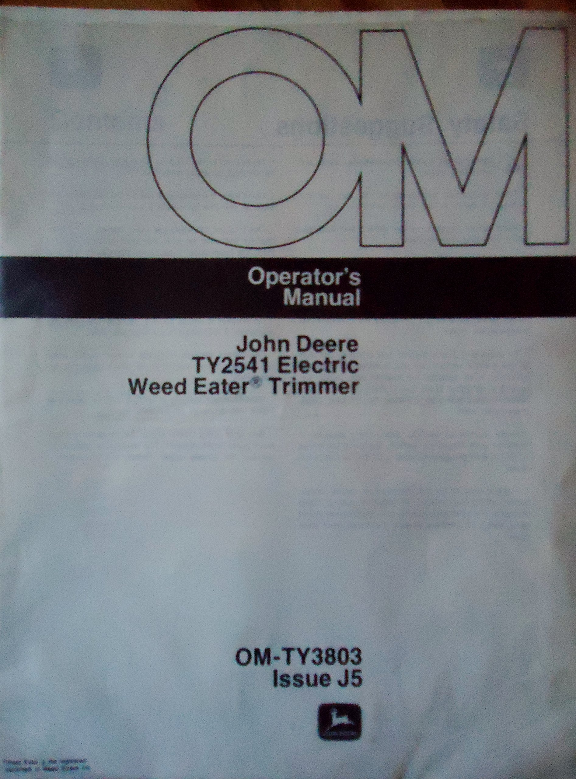 John Deere TY2541 Electric Weed Eater Trimmer Operator's Manual OM-TY3803  Issue J5: John Deere: Amazon.com: Books