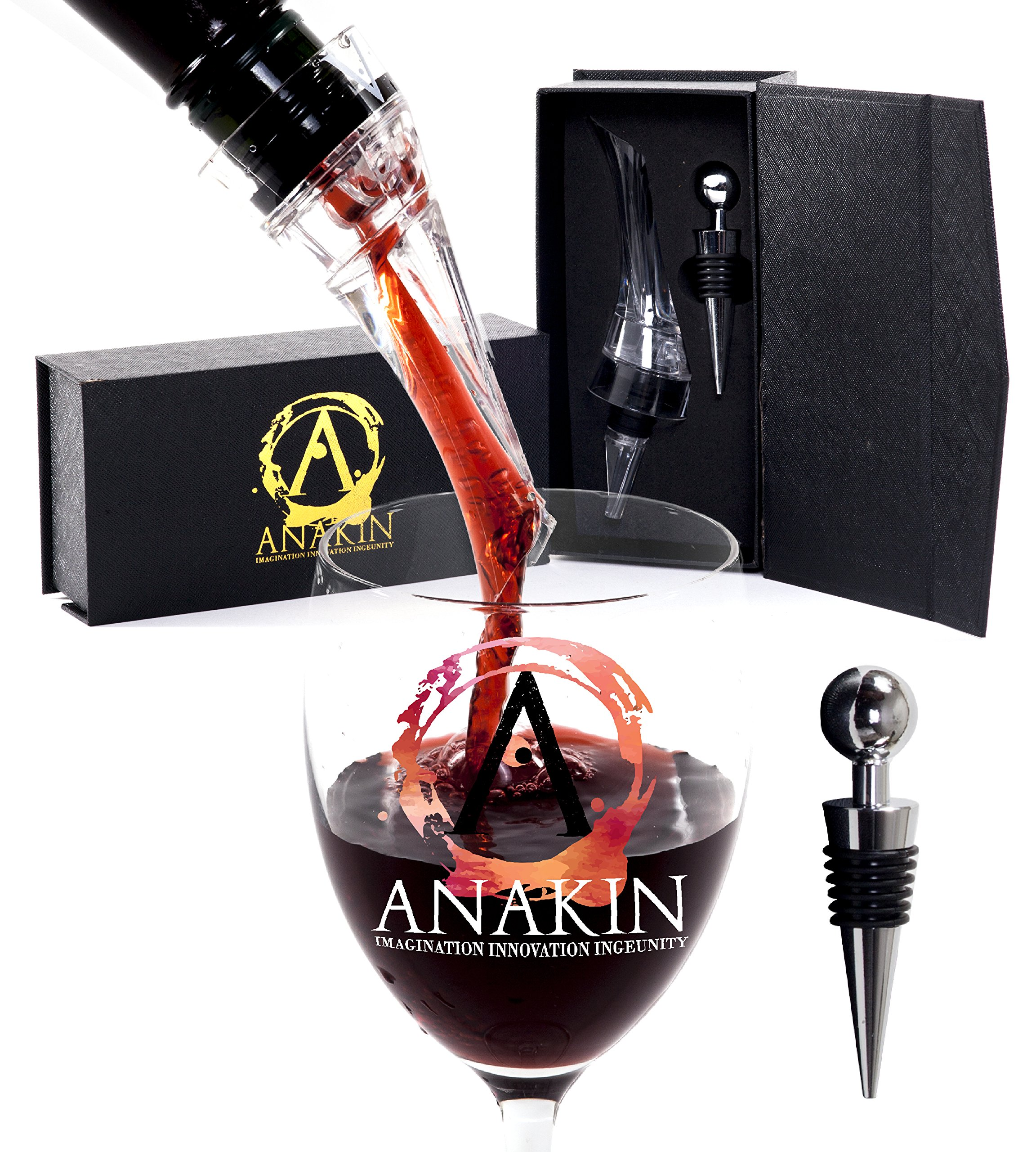 Wine Aerator Pourer and Wine Bottle Stopper Set by Anakin -Attachable Clear Decanter Spout and Stainless Steel Wine Bottle Cork Kit