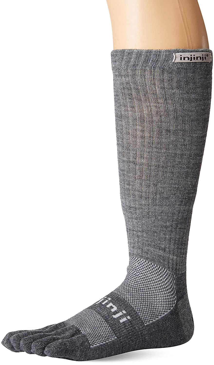 Injinji 2.0 Outdoor Original Weight Crew Nuwwol Socks, Charcoal/Black, Large 223270CHL