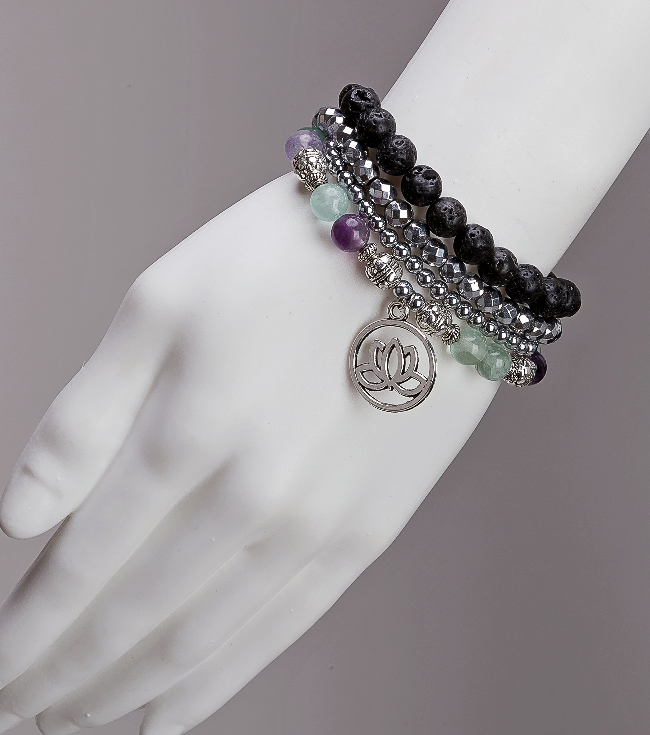 SPUNKYsoul Purple & Green Fluorite Lotus New Beginnings Bracelet Hematite for healing Stack Bracelet Set Collection by SPUNKYsoul (Image #2)