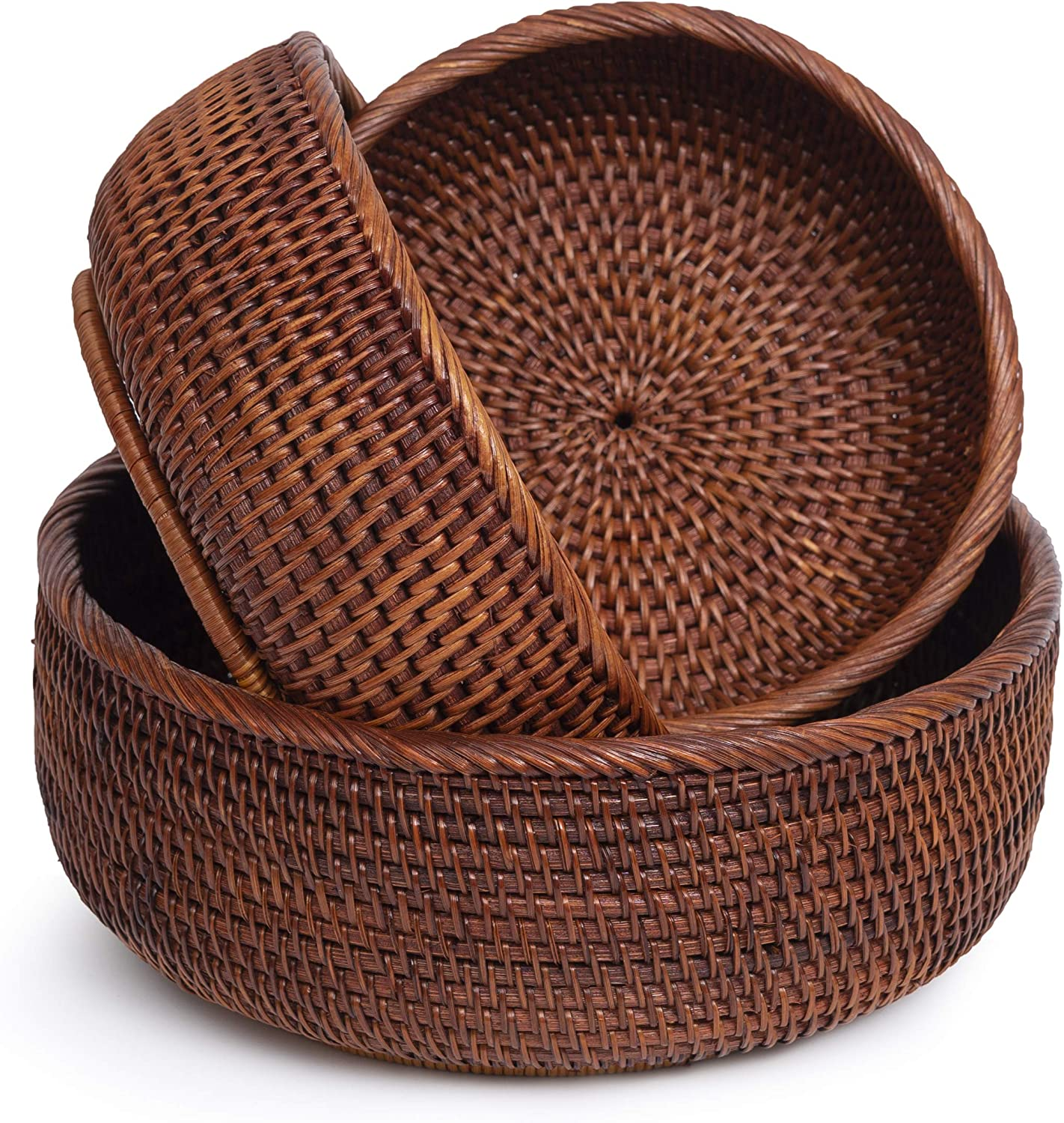 Wicker Bread Baskets For Fruit Vegetable Bowl Food Storage Organizing Kitchen Counter Desk Countertop Small To Large Natural Rattan Round Basket Serving Bowls Chips (3 Sizes: S+M+L, Honey Black)